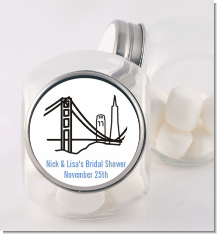 San Francisco Skyline - Personalized Bridal Shower Candy Jar