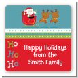 Santa And His Reindeer - Square Personalized Christmas Sticker Labels thumbnail