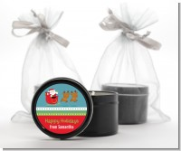 Santa And His Reindeer - Christmas Black Candle Tin Favors
