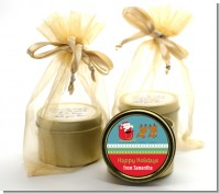 Santa And His Reindeer - Christmas Gold Tin Candle Favors