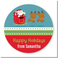 Santa And His Reindeer - Round Personalized Christmas Sticker Labels