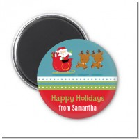 Santa And His Reindeer - Personalized Christmas Magnet Favors