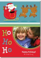 Santa And His Reindeer - Personalized Photo Christmas Cards