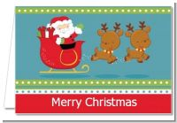 Santa And His Reindeer - Christmas Thank You Cards