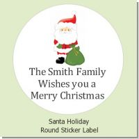 Santa Claus - Round Personalized Christmas Sticker Labels