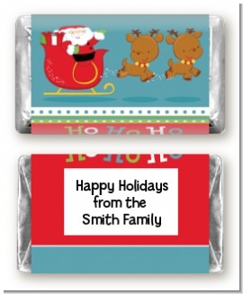 Santa And His Reindeer - Personalized Christmas Mini Candy Bar Wrappers