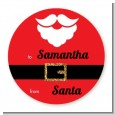 Santa's Belt - Round Personalized Christmas Sticker Labels thumbnail