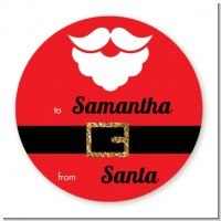 Santa's Belt - Round Personalized Christmas Sticker Labels