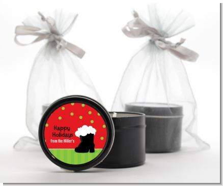 Santa's Boot - Christmas Black Candle Tin Favors