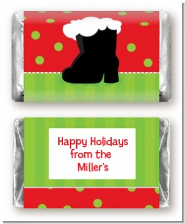 Santa's Boot - Personalized Christmas Mini Candy Bar Wrappers