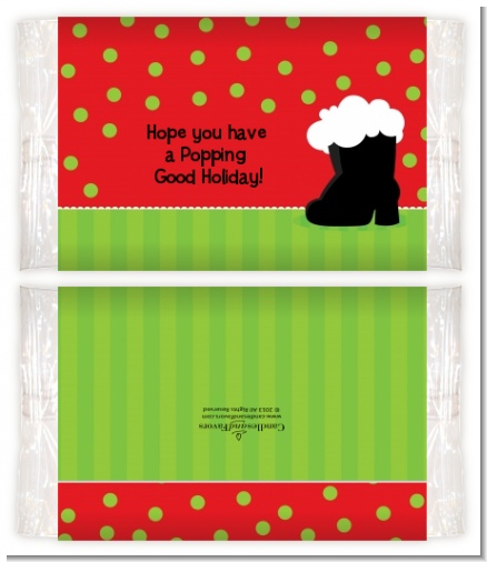 Santa's Boot - Personalized Popcorn Wrapper Christmas Favors