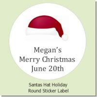 Santa's Hat - Round Personalized Christmas Sticker Labels