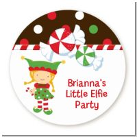 Santa's Little Elfie - Round Personalized Christmas Sticker Labels