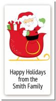 Santa's Sleigh - Custom Rectangle Christmas Sticker/Labels