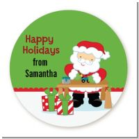 Santa's Work Shop - Round Personalized Christmas Sticker Labels