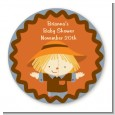 Scarecrow Fall Theme - Round Personalized Baby Shower Sticker Labels thumbnail