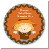 Scarecrow Fall Theme - Round Personalized Baby Shower Sticker Labels