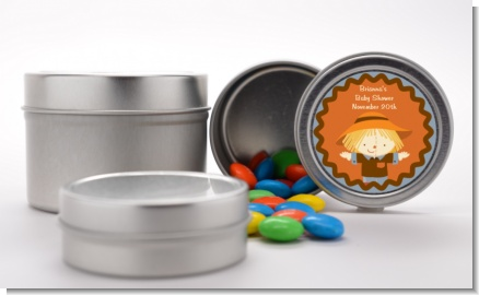 Scarecrow Fall Theme - Custom Baby Shower Favor Tins