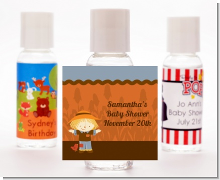 Scarecrow Fall Theme - Personalized Baby Shower Hand Sanitizers Favors