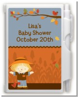Scarecrow Fall Theme - Baby Shower Personalized Notebook Favor