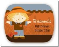 Scarecrow Fall Theme - Personalized Baby Shower Rounded Corner Stickers