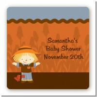 Scarecrow Fall Theme - Square Personalized Baby Shower Sticker Labels