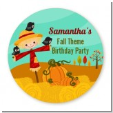 Scarecrow - Round Personalized Birthday Party Sticker Labels