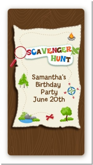 Scavenger Hunt - Custom Rectangle Birthday Party Sticker/Labels