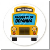 School Bus - Round Personalized School Sticker Labels