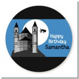 School of Wizardry - Round Personalized Birthday Party Sticker Labels