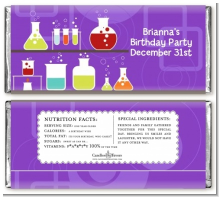 Science Lab - Personalized Birthday Party Candy Bar Wrappers