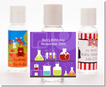 Science Lab - Personalized Birthday Party Hand Sanitizers Favors