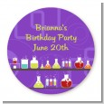 Science Lab - Round Personalized Birthday Party Sticker Labels thumbnail