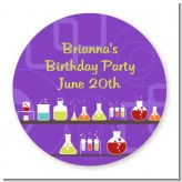 Science Lab - Round Personalized Birthday Party Sticker Labels