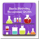 Science Lab - Square Personalized Birthday Party Sticker Labels