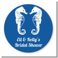 Sea Horses - Round Personalized Bridal Shower Sticker Labels thumbnail