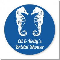 Sea Horses - Round Personalized Bridal Shower Sticker Labels