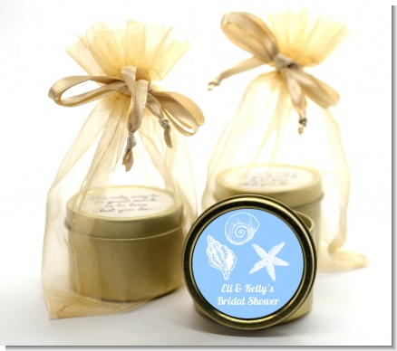 Sea Shells - Bridal Shower Gold Tin Candle Favors