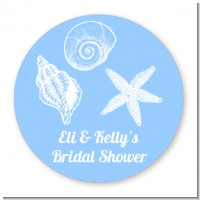 Sea Shells - Round Personalized Bridal Shower Sticker Labels