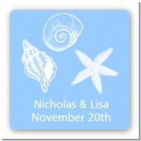 Sea Shells - Square Personalized Bridal Shower Sticker Labels