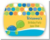 Sea Turtle Boy - Personalized Birthday Party Rounded Corner Stickers