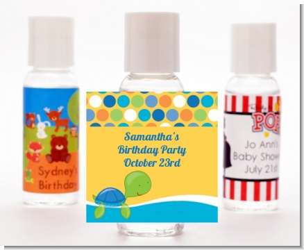 Sea Turtle Boy - Personalized Birthday Party Hand Sanitizers Favors