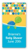 Sea Turtle Boy - Custom Rectangle Baby Shower Sticker/Labels
