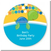 Sea Turtle Boy - Round Personalized Birthday Party Sticker Labels