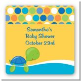 Sea Turtle Boy - Square Personalized Baby Shower Sticker Labels