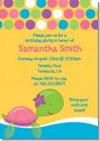 Sea Turtle Girl - Birthday Party Invitations