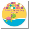 Sea Turtle Girl - Round Personalized Baby Shower Sticker Labels thumbnail
