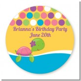 Sea Turtle Girl - Round Personalized Birthday Party Sticker Labels