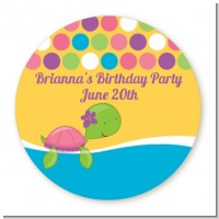 Sea Turtle Girl - Round Personalized Baby Shower Sticker Labels