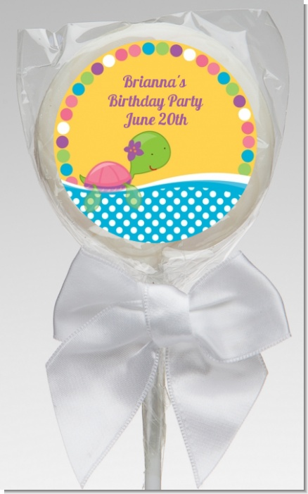 Sea Turtle Girl - Personalized Baby Shower Lollipop Favors